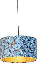 Pendant Lamp Black with 35cm Velvet Butterfly