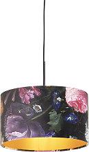 Pendant Lamp Black with 35cm Velvet Floral Shade -
