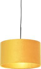 Pendant Lamp Black with 35cm Velvet Ochre Shade -