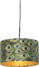 Pendant Lamp Black with 35cm Velvet Peacock Shade