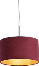 Pendant Lamp Black with 35cm Velvet Red Shade -