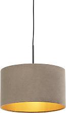 Pendant Lamp Black with 35cm Velvet Taupe Shade -
