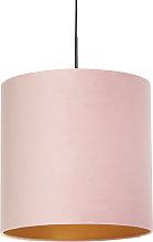Pendant Lamp Black with 40cm Velvet Aged Pink