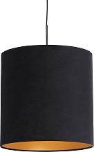 Pendant Lamp Black with 40cm Velvet Black Shade -