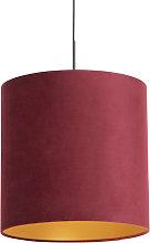 Pendant Lamp Black with 40cm Velvet Red Shade -
