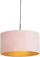 Pendant Lamp Black with 50cm Velvet Aged Pink
