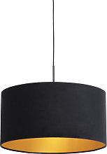 Pendant Lamp Black with 50cm Velvet Black Shade -