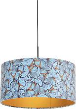 Pendant Lamp Black with 50cm Velvet Butterfly