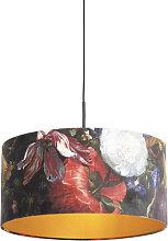 Pendant Lamp Black with 50cm Velvet Floral Shade -
