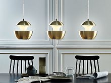 Pendant Lamp Brass Metal White Inner Modern Design