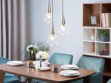 Pendant Lamp Brass Transparent Glass Golden Metal