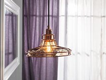 Pendant Lamp Copper Cage Glass Shade Antique