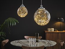 Pendant Lamp Glass Silver Elements Globe Shape