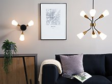 Pendant Lamp Gold and White Metal Frame Bell