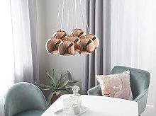 Pendant Lamp Gold Metal 7-Light Cluster Round