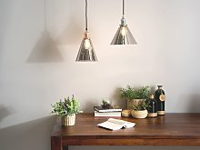 Pendant Lamp Grey Smoked Glass Copper Industrial