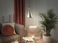 Pendant Lamp Silver Colour Metal Light Wood Bell