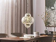 Pendant Lamp Silver Metal Carved Flower Patterns