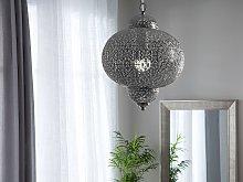 Pendant Lamp Silver Metal Carved Patterns Moroccan Design Vintage