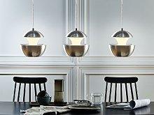Pendant Lamp Silver Metal White Inner Modern