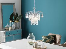 Pendant Lamp Silver Transparent Iron Faux Crystals