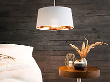 Pendant Lamp White and Copper Fabric Bell Shape