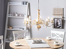 Pendant Lamp White and Gold Iron 8 Lights Glam