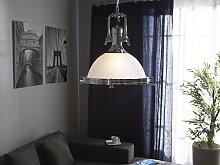 Pendant Lamp White Glass Silver Elements Task
