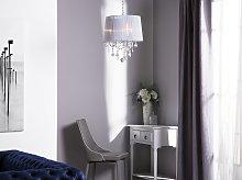 Pendant Lamp White Grey Shade Glam Crystal
