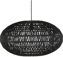 Pendant light in black hemp and black metal