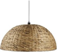 Pendant light in brown woven plant fibre