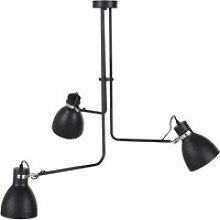 Pendant light in matte black metal with 3