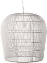 Pendant light in white wire metal with woven shade