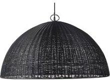 Pendant light in woven black metal wire