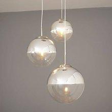 Pendant light Ravena with glass spheres, 3-bulb