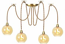 Pendant Lights with Amber Glass Shade, Height