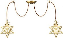 Pendant Lights with Switch, Star Glass Shade,