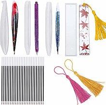 Pendasu 5pcs Pen Resin Molds Casting Pen Shape