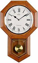 Pendulum Wall Clock Battery Operated Quartz Wood