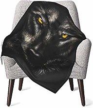 pengxuelinshop Nursery Bed Blankets,Black Wolf