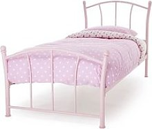 Penny Metal Single Bed In Pink Gloss