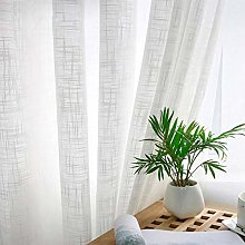 PENVEAT White Tulle Curtain Sheer Linen Curtains