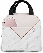 Peony Blush Geometric Marble Insulated Lunch Bag,
