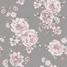 Peony Floral Leaf Roses Wallpaper - Pink / Dark