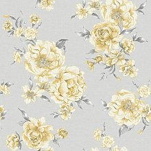 Peony Floral Leaf Roses Wallpaper - Yellow / Light