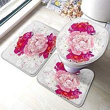 Peony Flower Bathmat,Red and White Peony Flower