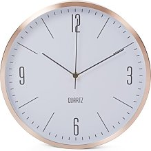 Perel Wall Clock 30 cm White and Rose Gold - White