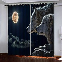 PERFECTPOT Blackout Curtains 3D Moon, Wolf Solid