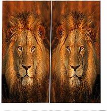 PERFECTPOT Blackout Curtains Lion Animal Window