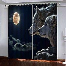 PERFECTPOT Eyelet Blackout Curtain 3D Moon, Wolf